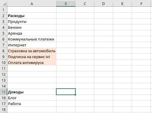 таблица домашнего бюджета